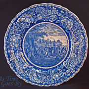 Staffordshire Commemorative Plate - William Penn's Treaty - Early