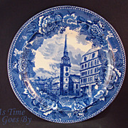 SOLD Staffordshire Commemorative Plate -Old South Church, Boston