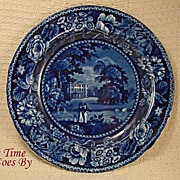 SALE Romantic Staffordshire Flow Blue or Blue Lamp; White Transfer Picturesque Scenery Dinner