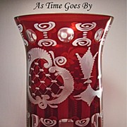 SOLD Egermann Royal Ruby Cut & Etched Vase