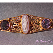SALE RARE Antique Hardstone Cameo and Amethyst Brooch in 14kt yellow gold