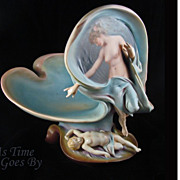 SALE Hand Painted Three Dimensional Female w/ Putto Figural Centerpiece - German