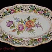 SALE Carl Thieme Hand Painted Dresden Flowers Reticulated Oval Platter