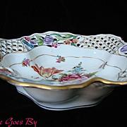 SALE Fancy Reticulated Dresden Flowers Gilded Porcelain Bowl or Basket