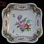 SALE Carl Thieme Hand Painted Dresden Saxony Square Reticulated Bowl