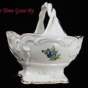 SALE Hand Painted Dresden Flower Porcelain Mint Basket - Thieme