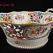 SALE Hand Painted Dresden Flower Reticulated Centerpiece Bowl - Thieme