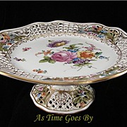 SALE Hand Painted Dresden Flower Reticulated Tazza - Thieme