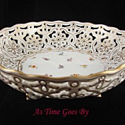 SALE Hand Painted Dresden Flower Reticulated Bowl with Dolphin Feet - Klemm