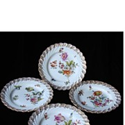 SALE RARE Set of Four Muffin Plates - Hand Painted Dresden Flower Porcelain from Donath &amp .