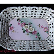 German Hand Painted Porcelain Floral Centerpiece Bowl or Basket with Handles- Tielsch