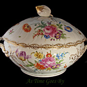 SALE Dresden Hand Painted Covered Soup Tureen - Klemm