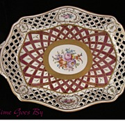 SALE Carl Thieme Hand Painted Dresden Flowers Floral Reticulated Porcelain Centerpiece Basket