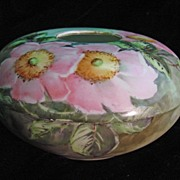 SALE Roses, Hand Painted on a William Guerin Porcelain Hair Receiver