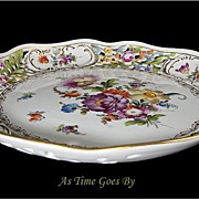 SALE Saxony Dresden Hand Painted and Reticulated Centerpiece Bowl