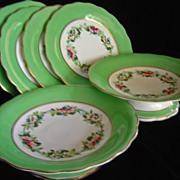 SALE Hand Painted Porcelain Floral Dessert Set - 6 pieces