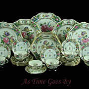 SALE Hand Painted Reticulated Dresden Special Edition Porcelain Set - 33 pieces