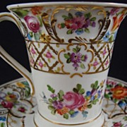 SALE Hand Painted Dresden Flower Porcelain Chocolate Cup & Saucer - Thieme