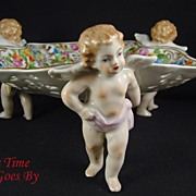 SALE Hand Painted Dresden Flower Porcelain Reticulated Bowl with Putti Trio - Thieme