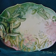 SALE Hand Painted Limoges Platter - Pea Pods