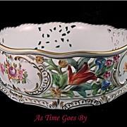 Carl Thieme Hand Painted Dresden Flowers Reticulated Centerpiece Bowl