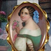 SALE Victorian Hand Painted Portrait on Porcelain - Brooch