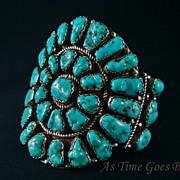 SALE Vintage Navajo Turquoise & Sterling Cluster Bracelet - Signed