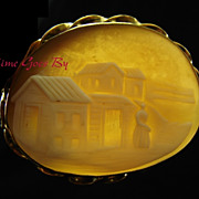 SALE Antique Scenic Carved Shell Cameo Brooch