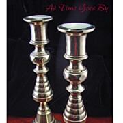 SALE Antique Pair of English Brass Push Up Candlesticks - 19th Century