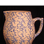 SALE Antique Blue and White Sponge Pitcher, Yellow Ware