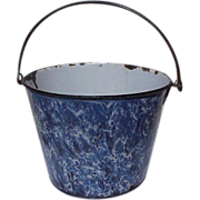 19th Cen. Enamelware French Blue Pail End of Day