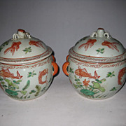 Pr. Antique Chinese Goldfish Soup Tureens Pots with Crab Lids