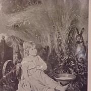 "SOLD ""Both Astonished"" Rabbit & Little Girl Print 1898 Art Journal"
