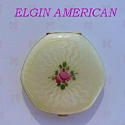 SOLD Vintage 1920's Elgin American Compact Guilloche Enamel 14K Gold Loose Powder & Rogue Va