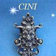 SOLD RARE Vintage Cini Sterling Silver Fur Clip Green Man Medieval God Signed