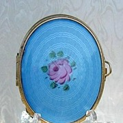 SOLD Large Vintage Powder Compact / Change Purse Blue Guilloche Enamel & Gold Mesh