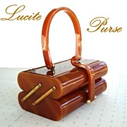 SOLD Vintage WILARDY Lucite Tiered Style Purse Marbled Butterscotch