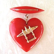 SOLD Vintage BAKELITE Puffed Red Heart Dangle Sweetheart Brooch Pin WW2 Metal Airplane