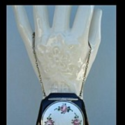 SOLD FM Co. Black Enamel Purse-Shaped Compact Guilloche Enamel Flowers Wrist Chain
