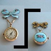 SOLD Vintage Guilloche Enamel Bow Lapel Watch Brooch Pin 17 Jewels Swiss Signed Bucherer