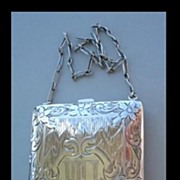 SOLD Hallmarked Sterling Silver Compact Vanity Purse Engraved Art Nouveau Floral Design