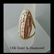 SOLD Vintage 14K Yellow Gold & Diamond Long Ring Native American Style Feather Marked