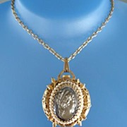 SOLD Vintage Swiss Glass Cameo Reversible Pendent Watch Necklace Keeps Perfect Time Tassel Flo