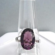SOLD Vintage Large Oval Cut Amethyst Sterling Silver Ring