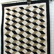 "SOLD Vintage 1950's Native American Navajo Rug 3-D Cubist Geometric Heavy Weave 36"" x 56â€"
