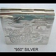 SOLD Rare Antique Marked 950 Silver Engraved Japanese Compact Unusual Book-Shape