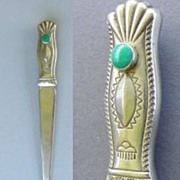 SOLD Vintage Native American Indian 2-Sided Letter Opener Sterling Silver Green Turquoise Orna