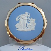 SOLD Rare Vintage STRATTON England Compact Josiah Wedgwood White Cameo on Blue Jasperware Myth