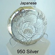 SOLD Antique Marked 950 Silver Engraved Japanese Compact Flowers & Characters