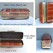 SOLD Antique 1880's Pocket Vesta Match Safe Amber Color Translucent Banded Agate & Silver